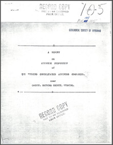 Report on Asbestos Properties of the Wyoming Consolidated Asbestos Companies near Casper, Natrona County, Wyoming (1908)