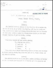 Report on the Arizona Group, Hecla, Laramie County, Wyoming (1907)