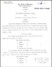 A Report on the Charter Oak-Puzzler Groups near Encampment, Carbon County, Wyoming (1906)