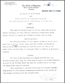 A Brief Report on the Copper Float Group, Hermosa, Albany County, Wyoming (1906)