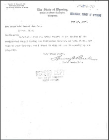 A Brief Report on the Teddy Roosevelt-Good Hope Group, Hecla, Laramie County, Wyoming (1906)