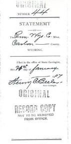 Independent Engineer's Report on the Properties of the Penn-Wyoming Copper Company and the Grand Encampment Copper Mining District Located in the County of Carbon, State of Wyoming (1906)
