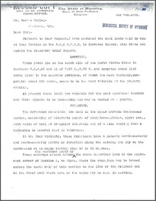 A Brief Report on the Inez Coal Lands, Converse County, Wyoming (1903)