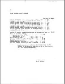 Asphalt Analysis (Bitumen), Baggs, Carbon County, Wyoming; Gebo, Wyoming; Sheridan, Wyoming