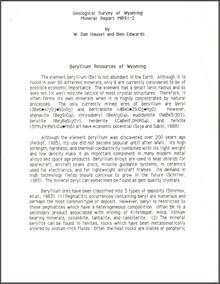 Beryllium Resources of Wyoming (1991)