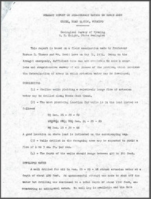 Summary Report on Sub-Surface Waters on Horse Shoe Creek, near Glendo, Wyoming (1934?)