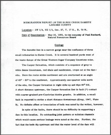 Memorandum Report on the Horse Creek Damsite, Laramie County (1955)