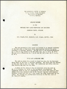 Geologic Report on the Proposed Twin Lakes Reservoirs and Dam Sites, Sheridan County, Wyoming (1936)