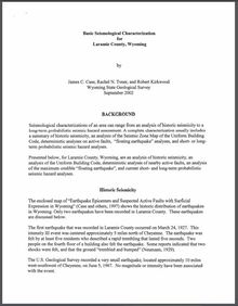 Basic Seismological Characterization for Laramie County, Wyoming (2002)