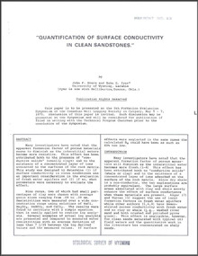 Quantification of Surface Conductivity in Clean Sandstones (1975)