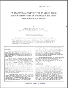 A Statistical Study of the SP Log in Fresh Water Formations of Wyoming's Bighorn and Wind River Basins (1975)
