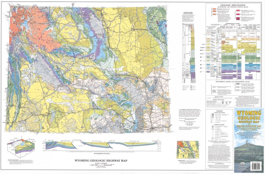 Wyoming Geologic Highway Map and Shaded Elevation Map, with Selected ...