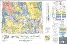 Wyoming Geologic Highway Map and Shaded Elevation Map, with Selected Mining Districts, & Dinosaur Localities