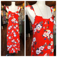 bold floral maxi w ruffle detail and adj straps in tomato red