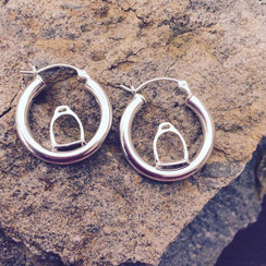 Sterling silver hoops with english stirrup earrings