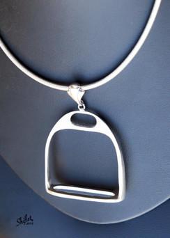 Large english silver stirrup pendant