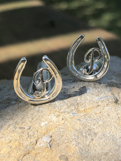 Plate horseshoe  or race shoe cufflinks with intial