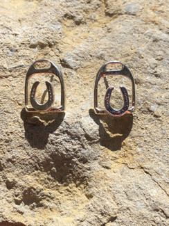 English stirrup with small horseshoe earrings