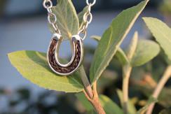 Horse hair horseshoe pendant  necklace