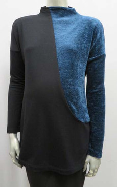 Style # F354 Top with curved contrast inset