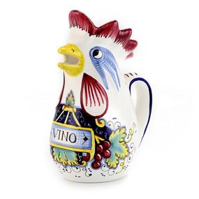 In Vino Veritas Rooster of Fortune Pitcher - Italian Ceramics