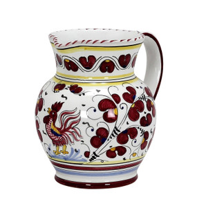 Orvieto Red Rooster Pitcher - Italian Ceramics