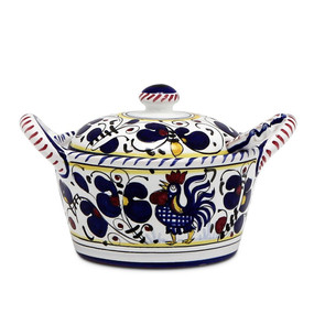 Orvieto Blue Covered Parmesan Cheese Bowl - Italian Ceramics