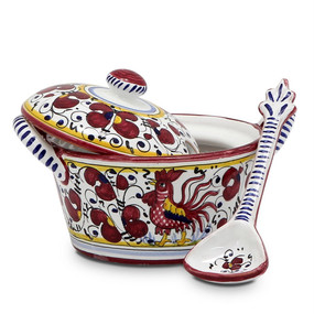 Covered Parmesan Cheese Bowl - Orvieto Red - Italian Ceramics