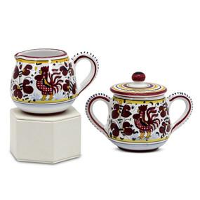 Orvieto Red  - Cream & Sugar Set - Italian Ceramics