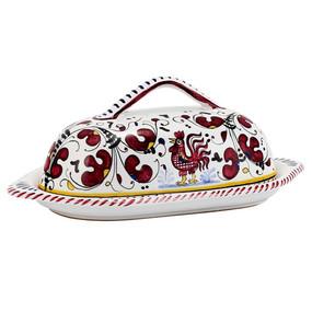 Butter Dish - Orvieto Red - Italian Ceramics