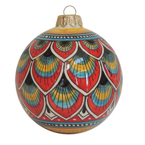 Geometrico Peacock Red - Italian Christmas Ornament
