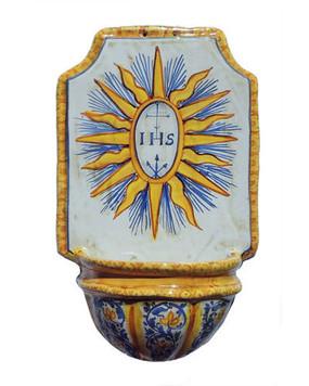 Italian Ceramic Holy Water Font IHS