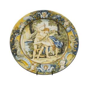 Italian Ceramics PIATTO CON TESA ORNAMENTALE CAINO E ABELE