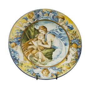 Italian Ceramics PIATTO CON TESA ORNAMENTALE DIANA ED EUDIMIONE