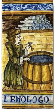 Wine Expert Tile -  L'ENOLOGO Italian ceramic tile. Hand painted Italian tile from Castelli, Italy.
