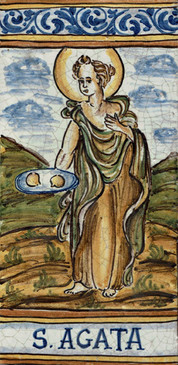 St. Agatha Tile - Sant'Agata Italian Ceramic Tile. Hand painted Italian tile from Castelli, Italy.