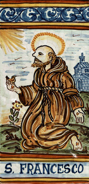St. Francis of Assisi Tile - San Francesco  Italian Ceramic Tile. Hand painted Italian tile from Castelli, Italy.