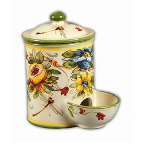 Salt Container with Pinch Well - Toscana Fiori Italian Ceramics