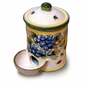 Salt Container with Pinch Well - Toscana Bees Italian Ceramics