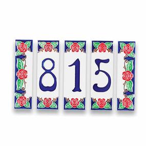 Italian Ceramic House Numbers Tiles - Roses
