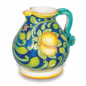 Ornato Pitcher with Lemons and Leaves Italian Ceramics