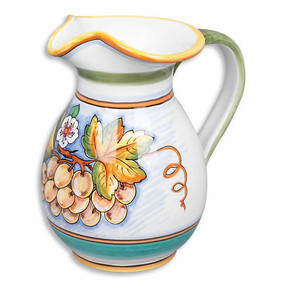 Bianco Fresco Pitcher. Hand painted Italian Ceramics imported from Italy.