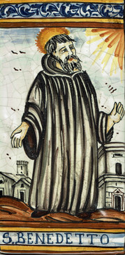 St. Benedict Tile - S. BENEDETTO. Hand painted Italian tile from Castelli, Italy.
