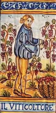 Wine Grower Tile - IL VITICOLTURE Italian ceramic tile Hand painted Italian tile from Castelli, Italy.