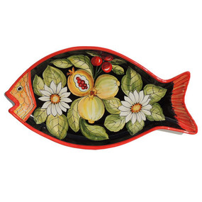 Fish Platter - Capri Nero - Fratelli Mari Italian Ceramics