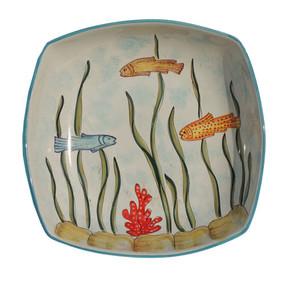 Fish Square Bowl - Marina - Fratelli Mari - Italian Ceramics