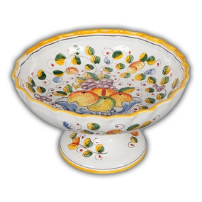 Fluted Footed Fruit Bowl - Miele - Italian Ceramics