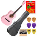 School Guitar Starter Pack Left Handed 3/4 Size Pink