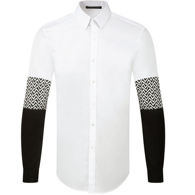Zip Contrast Sleeve Shirt
