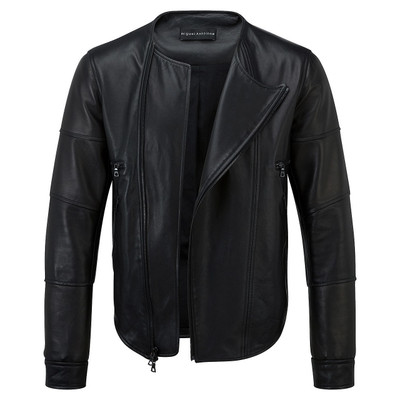 Padded Leather Biker Jacket